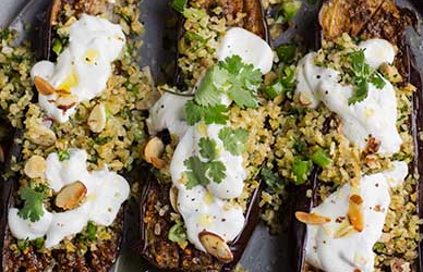 Chermoula Aubergine  with Bulghar and Yogurt